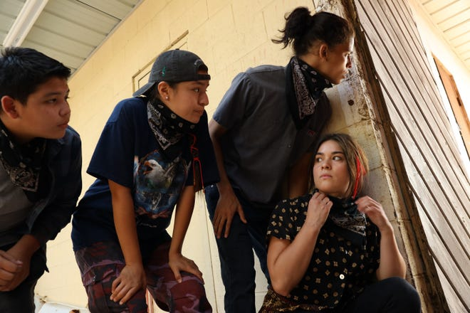 """From left, Lane Factor, Paulina Alexis, D'Pharaoh Woon-A-Tai  and Devery Jacobs star in """"Reservation Dogs,"""" streaming on Hulu."""