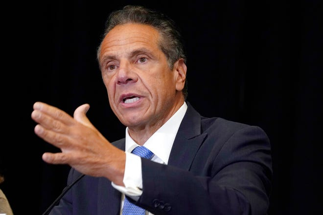 """FILE - New York Gov. Andrew Cuomo speaks during a news conference at New York's Yankee Stadium, Monday, July 26, 2021. State lawmakers are telling Gov. Andrew Cuomo that their ongoing impeachment investigation is """"nearing completion"""" and gave him a deadline of Aug. 13, to provide additional evidence. (AP Photo/Richard Drew, File)"""