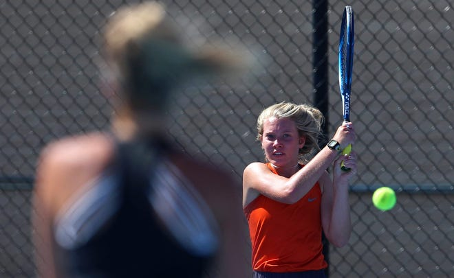 Kenzie King, right, returns a shot during a doubles tennis match for Central against Lubbock-Cooper on Tuesday, Aug. 10, 2021.