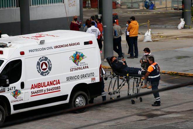 A patient arrives at the Ignacio Zaragoza general hospital amid the new coronavirus pandemic surge in the Iztapalapa borough of Mexico City on Monday.