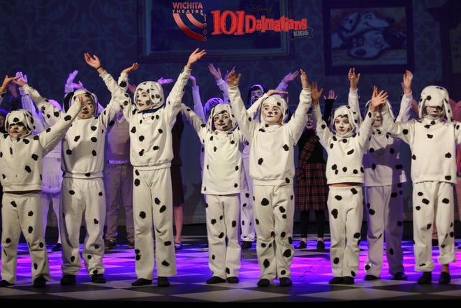 """Young actors dressed as Dalmatian puppies are seen in Wichita Theatre's """"Disney's 101 Dalmatians."""" There will be three shows of the production this Saturday."""