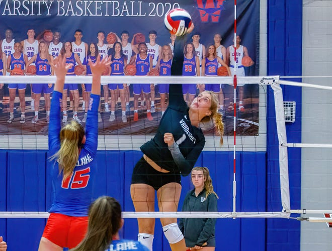 Vandegrift outside hitter Chloe Charles goes for the kill against Westlake on Aug. 10. Charles was named Most Valuable Player at the Westwood Warrior Showcase after leading the Vipers to the championship.
