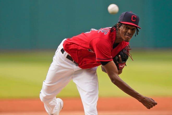Cleveland starting pitcher Triston McKenzie threw a strong six innings in an eventual 4-3 loss to the Oakland Athletics on Tuesday night. [Tony Dejak/Associated Press]