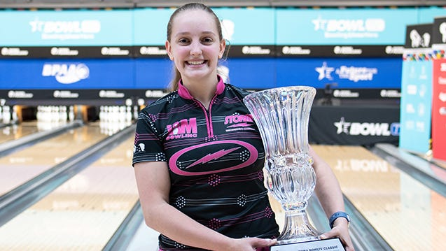 Stow's Jillian Martin, 17, holds the trophy for winning the 2021 PWBA BowlTV Classic on Tuesday night in Arlington, Texas. Martin became the youngest woman to ever win a PWBA event. [Photo courtesy of the Professional Women's Bowlers Association]