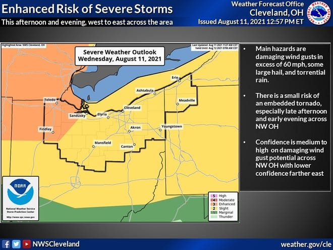 Another round of thunderstorms is expected later in the day on Wednesday for most of northern Ohio.