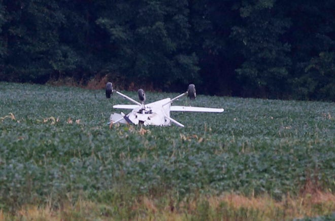 A small plane crashed in this field off Greenwich Road near the Weltzien Skypark Wednesday, Aug. 11, 2021 in Wadsworth, Ohio.