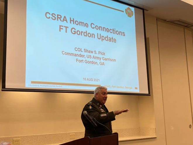 Fort Gordon Garrison Commander Col. Shaw Pick spoke at the CSRA Home Connections breakfast to give an update on happenings inside Fort Gordon.