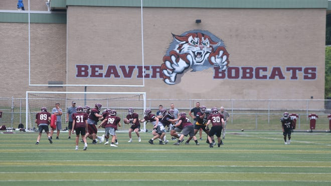 The Beaver Bobcats offensive and defensive line go head to head during training camp Monday afternoon at Beaver High School.