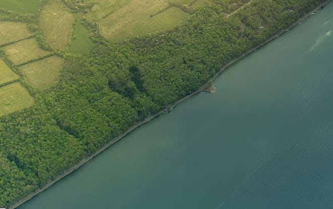An aerial view of the Sims Tract with 4,000 feet of frontage on Cayuga Lake, recently acquired by the Finger Lakes Land Trust.