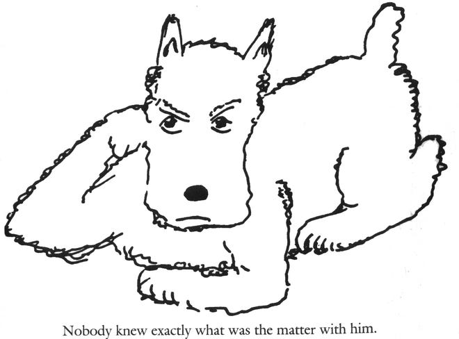 The James Thurber drawing of Muggs, the family dog.