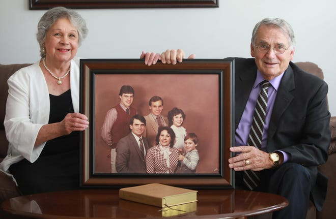 Shirley and Roger Burgess have attended every annual Jehovah's Witness convention for the past 60 years and taken their children for many of those years. But the COVID-19 pandemic forced the couple to attend the 2020 and 2021 conventions virtually. Their children, pictured here in a 1983 family photograph, are (from top left) Steve, Jeffrey, Katrina and Ty.