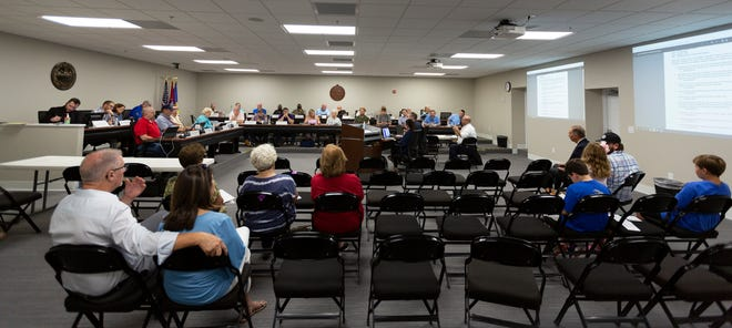 The Maury County Commission and the Maury County Public Schools Board of Education hold a joint meeting inside the Tom Primm Commission Meeting Room on Tuesday, Aug. 10, 2021.