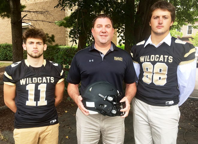 Western Wayne was well-represented at this year's Lackawanna Football Conference Media Day. The 11th annual event was held at the Regal Room in Olyphant. Pictured flanking Head Coach Randy Wolff are Thomas Chernasky (88) and Jaiden DeRosa (11).