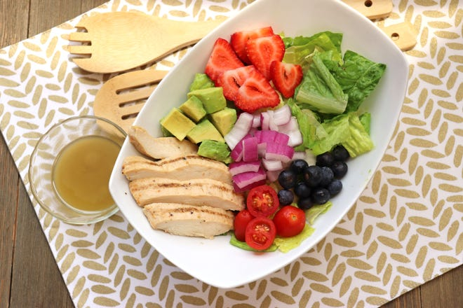 This grilled chicken salad is lighter fare to enjoy during the warm summer months.