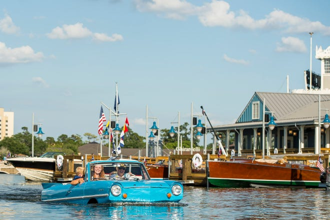 The BoatHouse Restaurant in Disney Springs has a fleet of Amphicars. Guests can take a captain-guided tour on board.