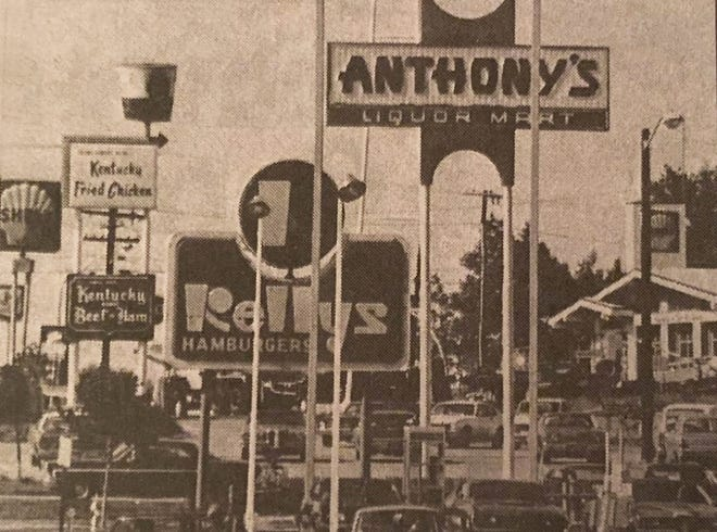 """A view of """"Gasoline Alley"""" along Pearson Boulevard in Gardner in the early 1970s."""