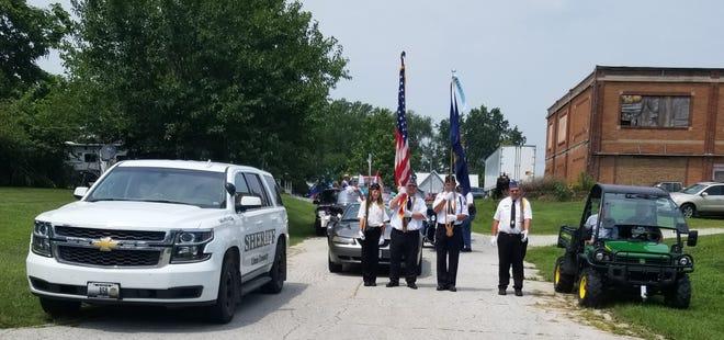 On Aug. 7, the Bucklin American Legion color guard consisting of Joanne Perkins, Luke Thomas, Robert Jobsonand Luke Perkins lead the Bucklin Homecoming Parade.