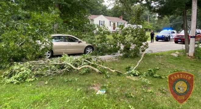 A large tree branch fell on a car in Hanover on Wednesday, Aug. 11, 2021.