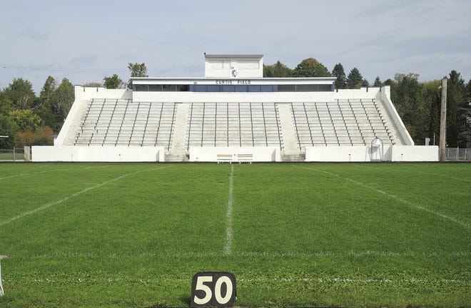 A look at the grandstand of Petoskey's Curtis Field in 2015. The structure is slated to be demolished before the start of this school year.