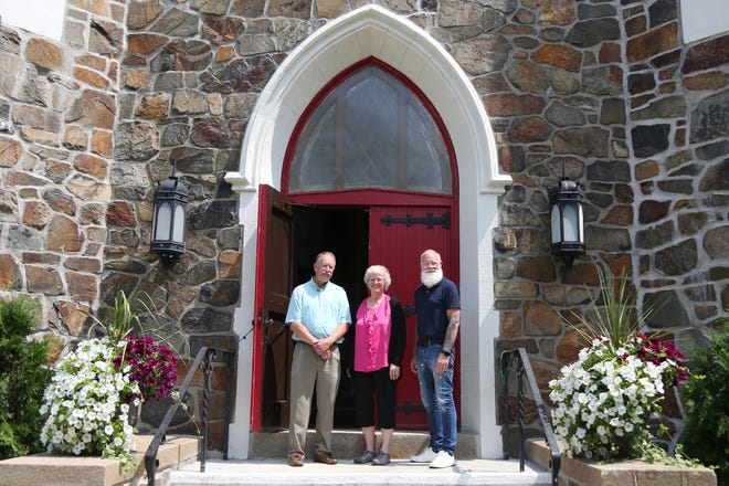 From left, John VanReenen, head of finance, The Rev. Dr. Debra Hanson and Bevan Bloemendaal, the director of outreach and communications, are excited for the reopening of the First United Methodist Church in Portsmouth.