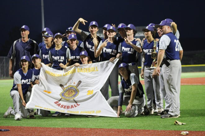 Members of the Exeter Post 32 baseball team celebrate after placing second in the New Hampshire American Legion junior tournament at Gill Stadium in Manchester. Exeter forced a second-and-deciding championship game with an 8-2 victory over Nashua in the first game. Nashua won the second game, 15-2.