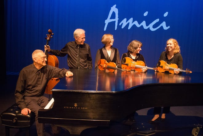 Victor Steinhardt, from left, Steve Pologe, Sharon Schuman, Jessica Lambert and Lillie Mannis in Chamber Music Amici.