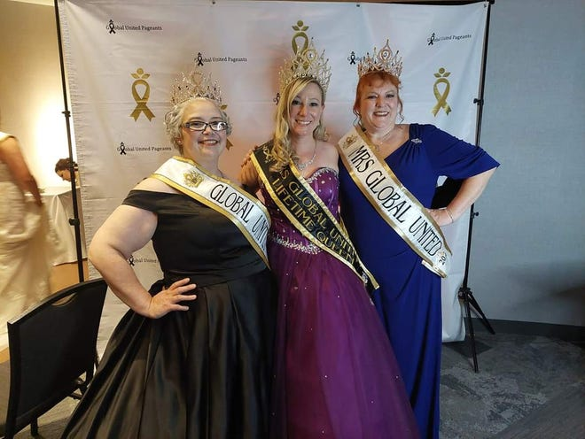 Three local women recently traveled to Minneapolis for the Global United International Pageant, which helps raise funds and awareness for childhood cancer, and came home with new titles. Pictured from left: Robin Lawless, Amanda Kemp and Brenda Ransom.