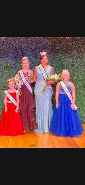 The New Miss World Festival is Ailynn Duarte, a Kewanee High School graduate and the daughter of Nubia and Carmelo Duarte, of Kewanee. She will be attending Loyola University in the fall. In the photo, from left: Mini Miss World Festival Ivie Haptonstall, daughter of Karissa Nash of Galva and Derek Haptonstall, of Kewanee; Jr. Miss World Festival Genayvyve Barnes, daughter of Gessi and Cale Barnes; Miss World Festival Ailynn Duarte; and Little Miss World Festival, Charlie Vandersnick, daughter of Kalie and Travis Vandersnick, of Atkinson.