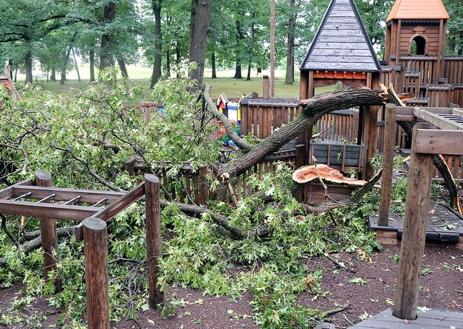 Numerous trees, limbs and branches came down today at Thurston Woods Park in Sturgis, forcing closure. City crew members began cleanup around 3:30 p.m.