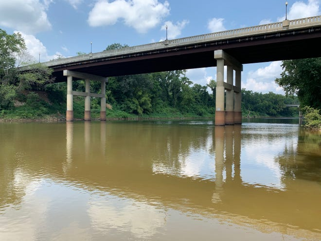 The body of a man was pulled from the Cape Fear River near the Person Street Bridge, shown here, on Tuesday evening, Fayetteville Police said.
