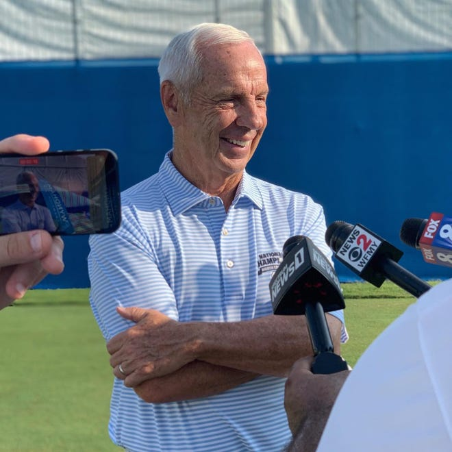 Former UNC men's basketball coach Roy Williams spoke with reporters before playing in the Wyndham Championship Pro-Am on August 11, 2021, at Greensboro's Sedgefield Country Club. Williams, 71, has golfed at three in-state pro-ams since retiring on April 1.