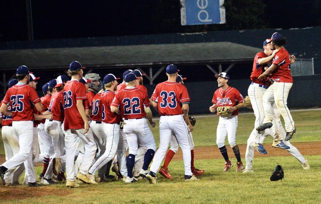 At right, Peyton Mason and Chris Martin jump in celebration after the Hagerstown Braves defeated the Shippensburg Stars in Game 4 to win the South Penn Baseball League championship series Tuesday night at Municipal Stadium.