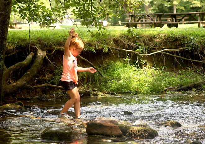 Emalynn Collins cools off in Spring Mill Creek Tuesday afternoon.