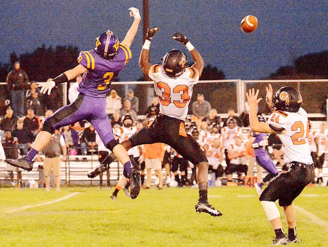 Watertown High School receiver Cole Holden (3) leaps for a pass during a game against Sioux Falls Washington last fall. The Arrows are set to open the 2021 season on Saturday, Sept. 28 at Sturgis.