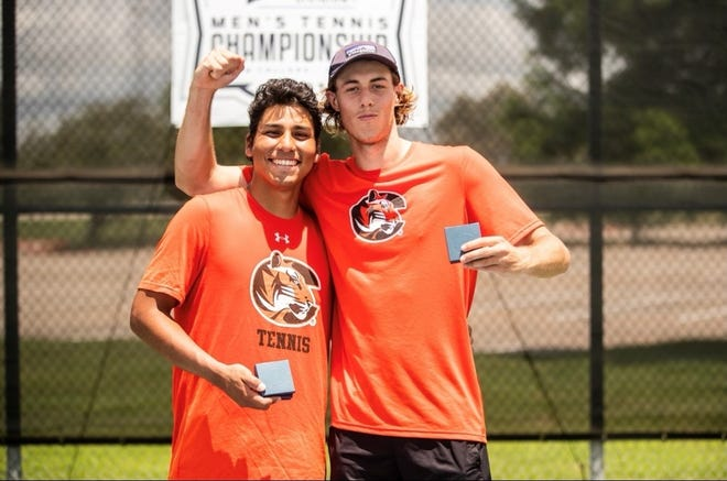 Cowley College tennis standouts Takeshi Taco (left) and Jack Clements (right)