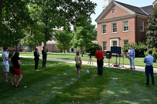 People gathered for a press conference held by the Miami University College Republicans on Wednesday, August 11, 2021 in front of Roudebush Hall for a press conference to voice their beliefs on Miami Universities new mask mandate for the fall 2021 semester.