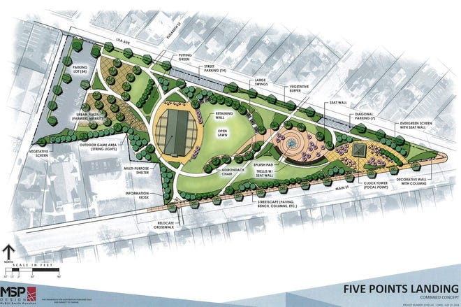 Here's a rendering of the $7.7 million Five Points Landing Park Milford wants to build between Main Street and Lila Avenue.
