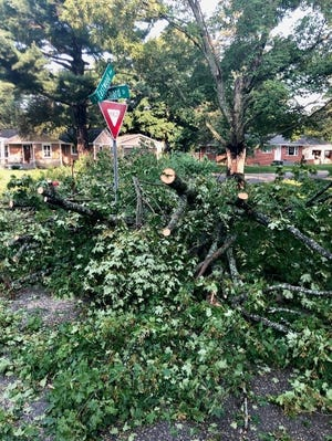 Consumers Energy is responding with all hands on deck to a storm packing up to 70 mph winds which caused damage across Michigan and knocked out power to 205,000 Consumers Energy customers Tuesday night, Aug. 10, 2021.