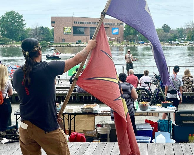 Indigenous environmentalists and their allies rallied in downtown Green Bay on Aug. 7, 2021 to oppose Enbridge pipeline projects in Wisconsin and Minnesota and are seeking resolutions from the Green Bay city council and Brown County Board to also oppose the pipelines.