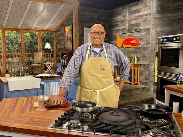 """Chef Kevin Belton on the set of his new PBS series """"Cookin' Louisiana."""""""