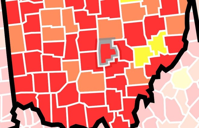 Fairfield County, outlined in gray, is now under the red classification for COVID transmission by the federal Centers for Disease Control and Prevention.