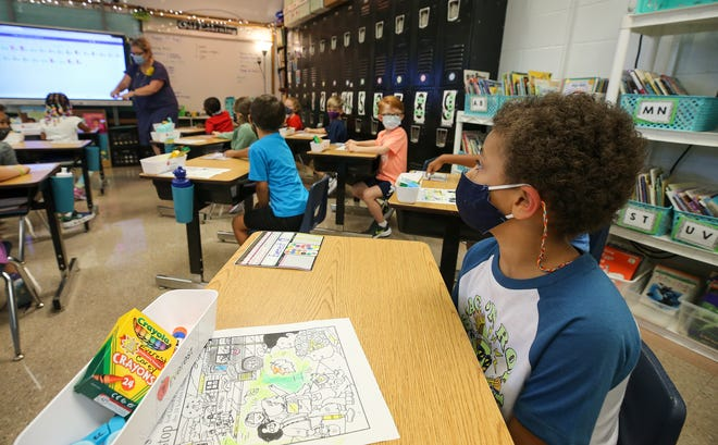 Students in Jessica Kaelin's class at Wilder Elementary on the first day of school on Wednesday, Aug. 11, 2021.