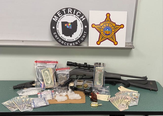 A display of the items seized during a July 7 search of 7199 Klahn Road, Crestline, by the Crawford County Special Response Team.