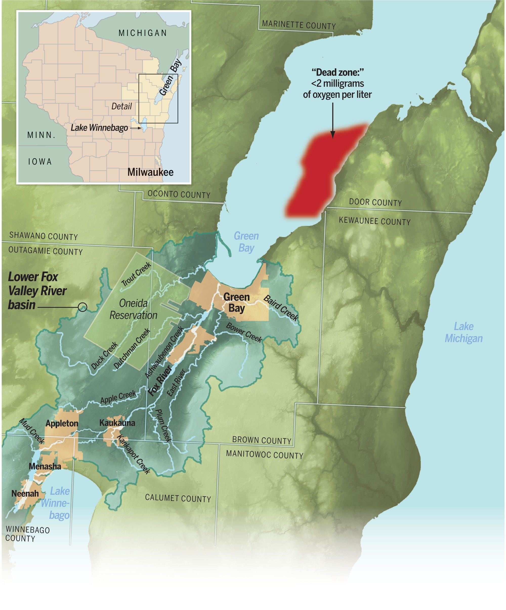 Map: A dead zone thrives in Green Bay