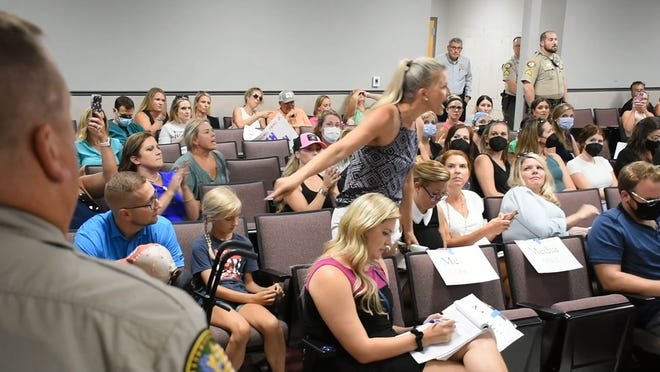 Anti-mask mother of special needs student shouts at board member Jen Aprea —a fellow mother of a special needs student — when the board member spoke on the importance of masks in protecting high-risk students.