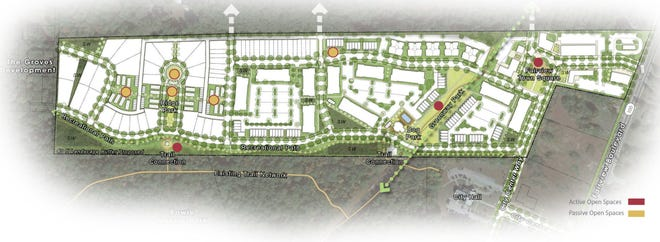 Aerial layout of the planned Fairview Town Center development by Regent Homes.