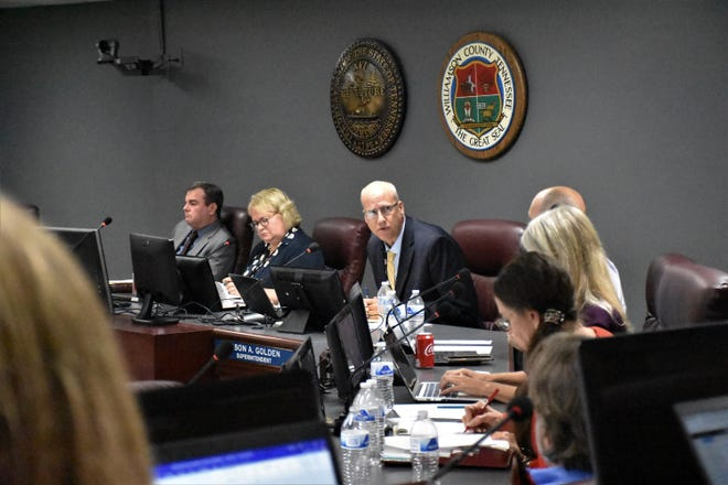 Williamson County Schools superintendent Jason Golden answers question from the board of education at its special called board meeting on August 10, 2021 in Franklin, Tenn.