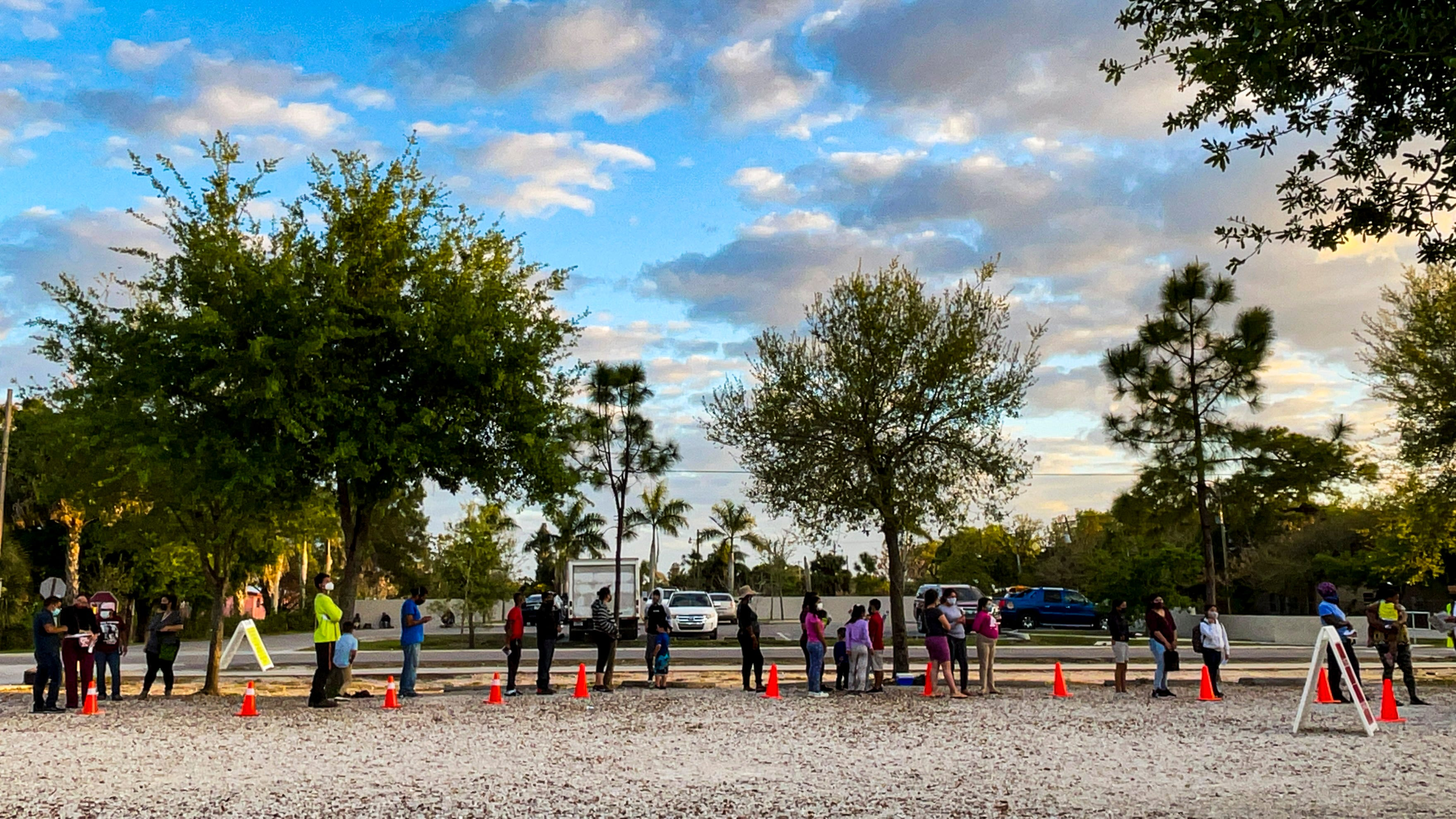 A COVID-19 testing event in Immokalee in March 2021. The Healthcare Network team sets up in a central downtown location, where buses drop off farmworkers after a day in the fields.