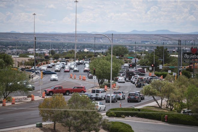 Traffic builds on on East Lohman Avenue in Las Cruces on Wednesday, Aug. 11, 2021. The city's population was 111,385 in 2020, a 14.1 percentincrease in 10 years, according to US Census data released Thursday, Aug. 12.