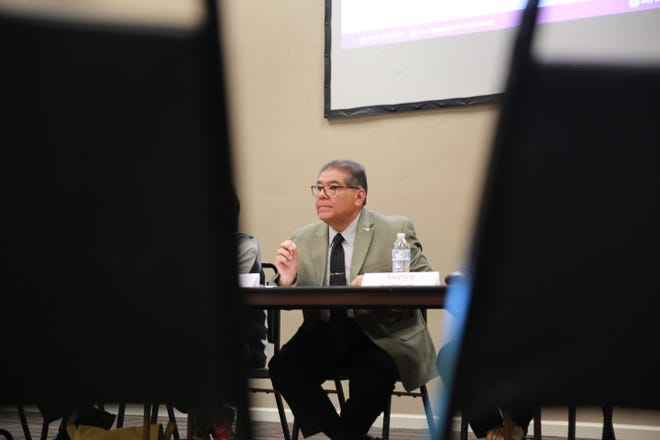 Third Judicial District Judge Conrad Perea, a former police officer, speaks during a public safety meeting in Las Cruces on Aug. 10, 2021.